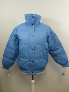 Ellis Brigham Super Down Ski Jacket Pale Blue Zip Off Sleeves Size M 14 UK