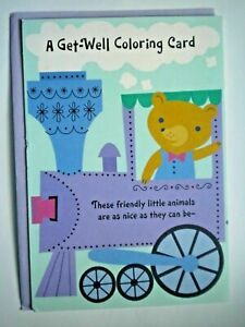 """Hallmark ~ FOLD-OUT """"A GET-WELL COLORING CARD"""" GREETING CARD + PURPLE ENVELOPE"""