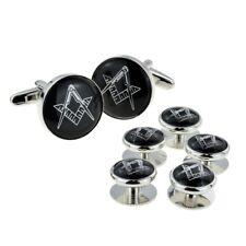 Black & Silver Enamelled Masonic Cufflinks & 5 Button Stud Set X2Aj316A