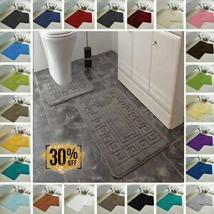 Jacquard Greek Bath Mat Set Anti Slip Pedestal Absorbent Toilet Bathroom Rugs