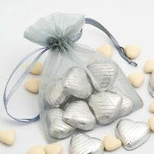 SILVER Luxury ORGANZA Favour Bags x10 Pieces - Wedding Gift Pouches - 12x17cm