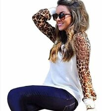 Unbranded Chiffon Long Sleeve Animal Print Women's Tops & Blouses