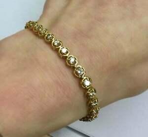 "3.65 CT Beauty Round Diamond Tennis Bracelet For Women 14K Yellow Gold Finish 7"""
