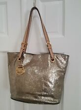 Michael Kors Leather Trim Gold Metallic Tote Bag