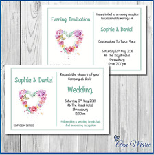 10 x WEDDING/EVENING  PERSONALISED FLOWERHEART INVITATION CARDS INVITE ENVELOPES