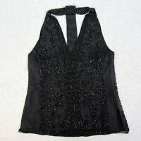 Polo Ralph Lauren Womens Size XS Black Ornately Beaded Tulle Halter Top Blouse