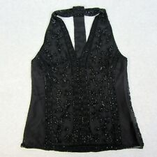 Polo Ralph Lauren Womens Size XS Black Ornately Beaded Tulle Halter Top Blouse