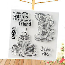 teacup clear rubber stamps seal scrapbooking album card decor diary diy craft @