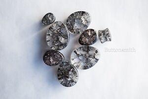 Pair of Teardrop Black Cracked Glass Plugs / Gauges ear lobe 6mm - 25mm