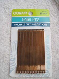 18 Conair Brown Roller Pins Flat Wide Metal Bobby Slides Bronze Brunette Styling