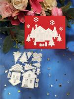 Stanzschablone Haus Tannenbaum Hochzeit Weihnachten Geburtstag Album Karte DIY