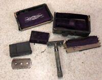 VINTAGE 1904 GILLETTE  RING SAFETY RAZOR W/CASE See Photos