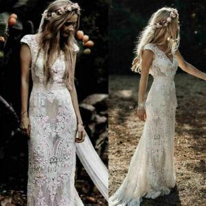 Vintage V-Neck White Ivory Wedding Dresses Lace Appliques Mermaid Bridal Gowns