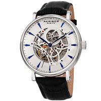 Akribos XXIV Men's Automatic AK1020SSBK  Skeleton Exhibition Black Leather Watch