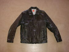 HUGO BOSS orange label men's leather biker military jacket coat jacke 52 M brown