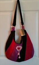 Miraflores Miss Black Pink Purple Flowers of Andes Wool Shoulder Bag Novica Peru