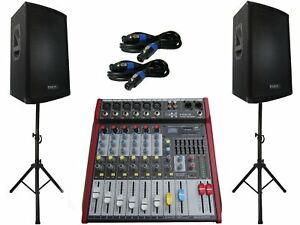 Das PA-SET 26 Powermixer Ibiza Musik Anlage 3 wege 30 cm Boxen USB Stativ 2400 W