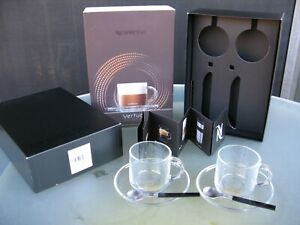 Nespresso Vertuo Clear Glass Cappuccino Coffee Cups, Saucers & Spoons Set for 2