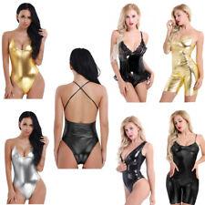 Sexy Women's Tight Patent Leather Jumpsuit Catsuit Bodysuit Dance Disco Clubwear