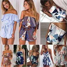 Womens Summer Holiday Mini Playsuit Lady Jumpsuit Romper Beach Shorts Dress 6-14