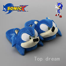 New The HEDGEHOG Sonic Soft Plush Slippers Home Unisex Shoes for Adult 1 Pair