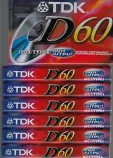 7 New TDK D60 Blank Audio Cassette Tapes 60 min High Output Type I
