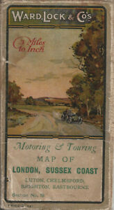 """OLD WARD LOCK ROAD MAP (3m to 1"""") - section 10 - LONDON & SUSSEX COAST - 1920s"""