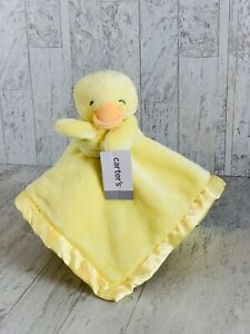 NWT Carters Yellow Duck Chick Satin Trim Security Blanket Plush Baby Toy Lovey