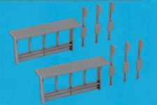 Modelscene 5192 6 x Bus Stops & 2 x Shelters Grey 'N' Gauge New - 1st Class Post