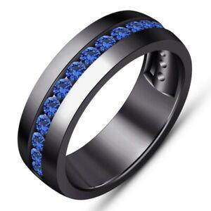 Men's 1.20 Ct Round Cut Blue Sapphire Engagement Wedding Band Black Gold Finish