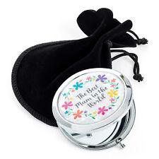 'THE BEST MUM' Metal Double Sided Compact Mirror Handbag Makeup Gift 7CM