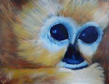 Original Oil Wildlife Painting Of Snow Monkey Fathers Day Gift Christine Ingram.