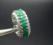 18k White Gold 3.50ct. Emerald & 1.65ct Diamond Eternity Band Ring 7.7gr  Sz 8