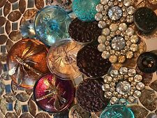ANTIQUE VINTAGE METAL CZECH GLASS RHINESTONES PICTURE  MIXED BUTTONS LOT