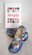 Alegria Women's Dayna DAY-367 Flats Blue Bouquet Mary Jane Clog Sz 35 (US 5-5.5)