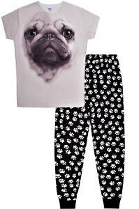 Super Cool Pug 3D  LONG Pyjamas Paw Print Pj 9-16 Years