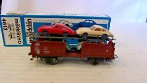 HO Scale Marklin Automobile Transport Car With 4 Autos, Brown #4613