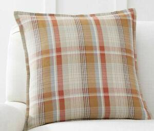 """Pottery Barn Fall Pumpkin Plaid Decorative Pillow 20"""" sq"""