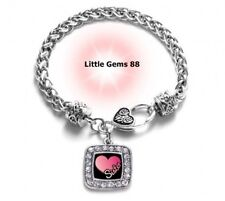 SILVER SISTER CHARM BRACELET 7.5 INCHES CLEAR CUBIC ZIRCONIA'S