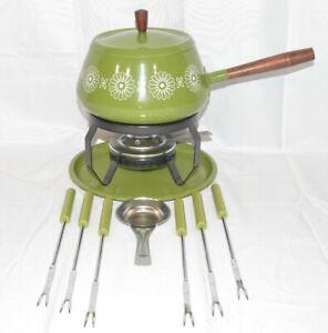 Vtg. Mid-Century Daisy Avocado Green Fondue Set. Pot Stand, Warmer, 6 Fork Set