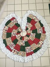 Country Style Handmade Pieced Christmas Tree Skirt 55� With Ruffle Edges
