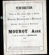 """MONTROUGE (92) USINE de PERFORATION TOLE ACIER ZINC CUIVRE """"MOUROT"""" Catalogue"""