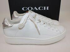 NIB $195 COACH Size 6.5 Women's White Silver Nappa Leather LOW TOP Sneaker