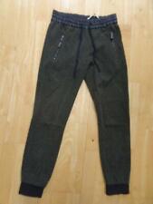 ZARA ladies green herringbone pattern elastic waist trousers MEDIUM UK 10
