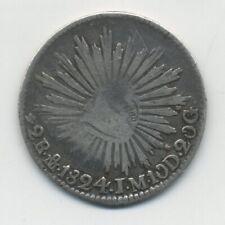 Mexico 1824 2 Reales  M JM rare year  (HOOK-NECK)  KM 373.4 VF