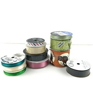 Spools of Ribbons New Lot of 11 Con alambre Wired Halloween Woven Green Organza