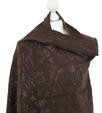 Chocolate Brown 100% Pashmina Wool Indian Embroidered Shawl Wrap Stole Hijab