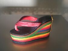 Collectible Miniature Shoe Rainbow High Heel Resin Shoe with Hanging Chain