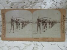 """Antique Vintage Griffith & Griffith Stereo View Card - """"Spring Volley"""""""