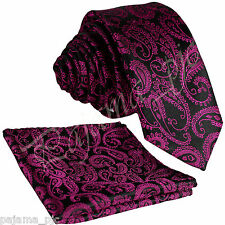 "MEN'S PAISLEY Skinny Slim 2.5"" Necktie & Pocket Square Hankie Set Fuchsia Black"